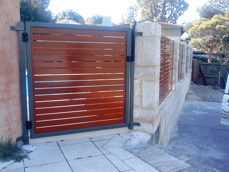 65x16mm Aluminium Slat Gate In Western Red Cedar Finish With Magna Latch Wembley Downs