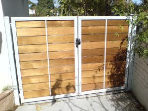 Cedar Timber Driveway Gates Floreat. Recessed Style. Rear View.