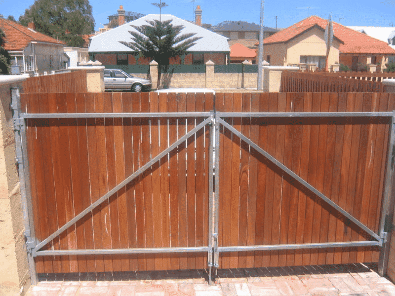 Dressed Jarrah Timber Gates On Steel Frame In Fremantle