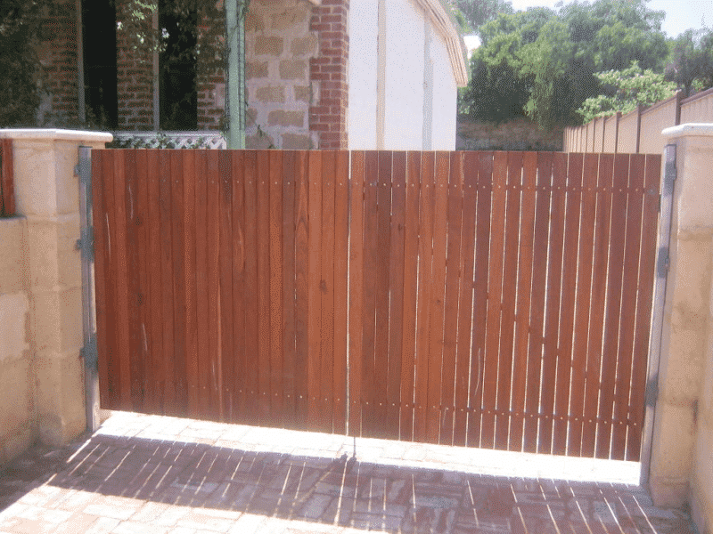 Dressed Jarrah Timber Gates On Steel Framework In Fremantle