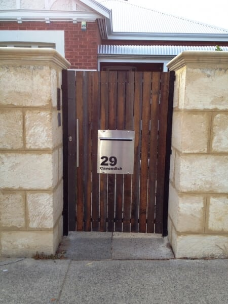 Jarrah Gate With Custom Letterbox Highgate