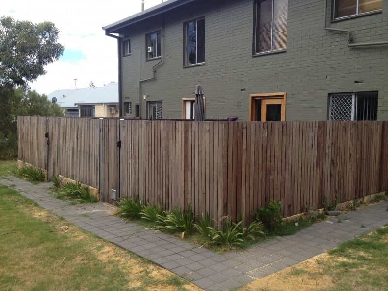 Rough Sawn Jarrah Picket Fence Scarborough