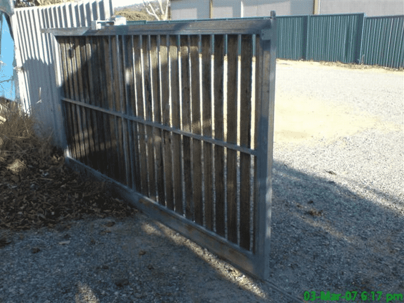 Rough Sawn Jarrah Sliding Timber Gate With Steel Framework In Kelmscott 2