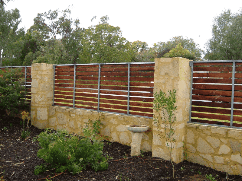 Rough Sawn Jarrah Timber Slat Fencing In White Gum Valley 2