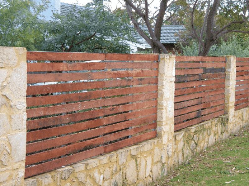 Rough Sawn Jarrah Timber Slat Fencing In White Gum Valley