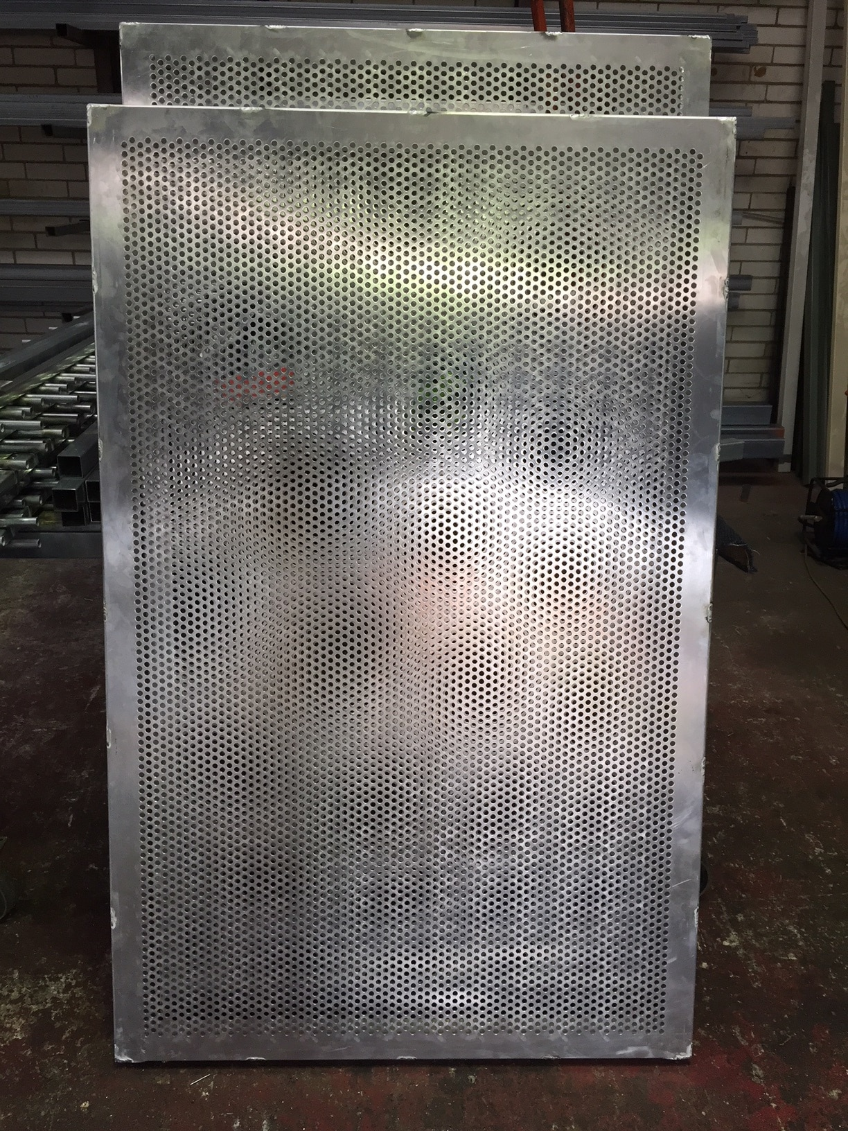 Standard Punched Aluminium Sheeted Gate With 9mm Diameter Holes 46% Permeability