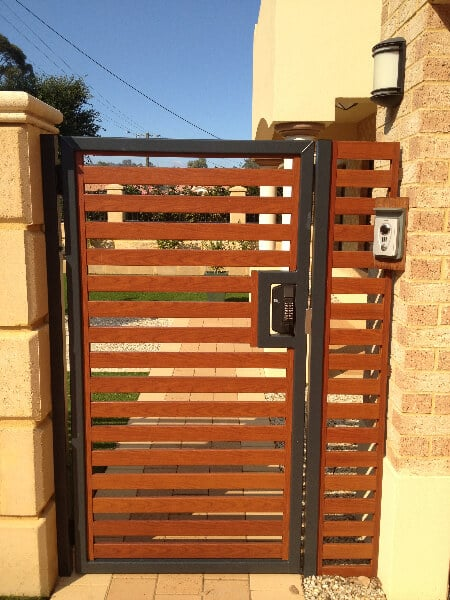 Timber Pattern Aluminium Pedestrian Gate With Borg Digital Lock Forrestfield