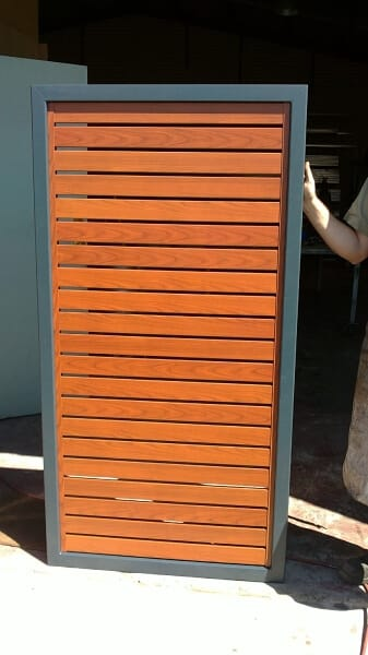 Western Red Cedar Aluminium Slat Gate With Powdercoated Framework