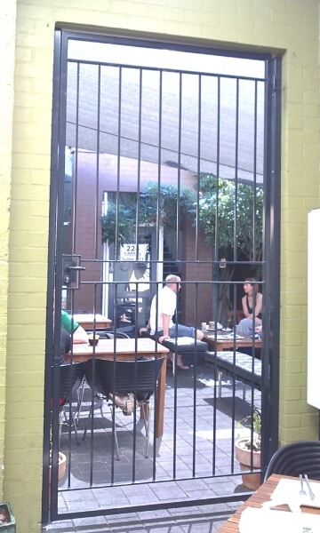 Wrought Iron Security Gate, Leederville Cafe