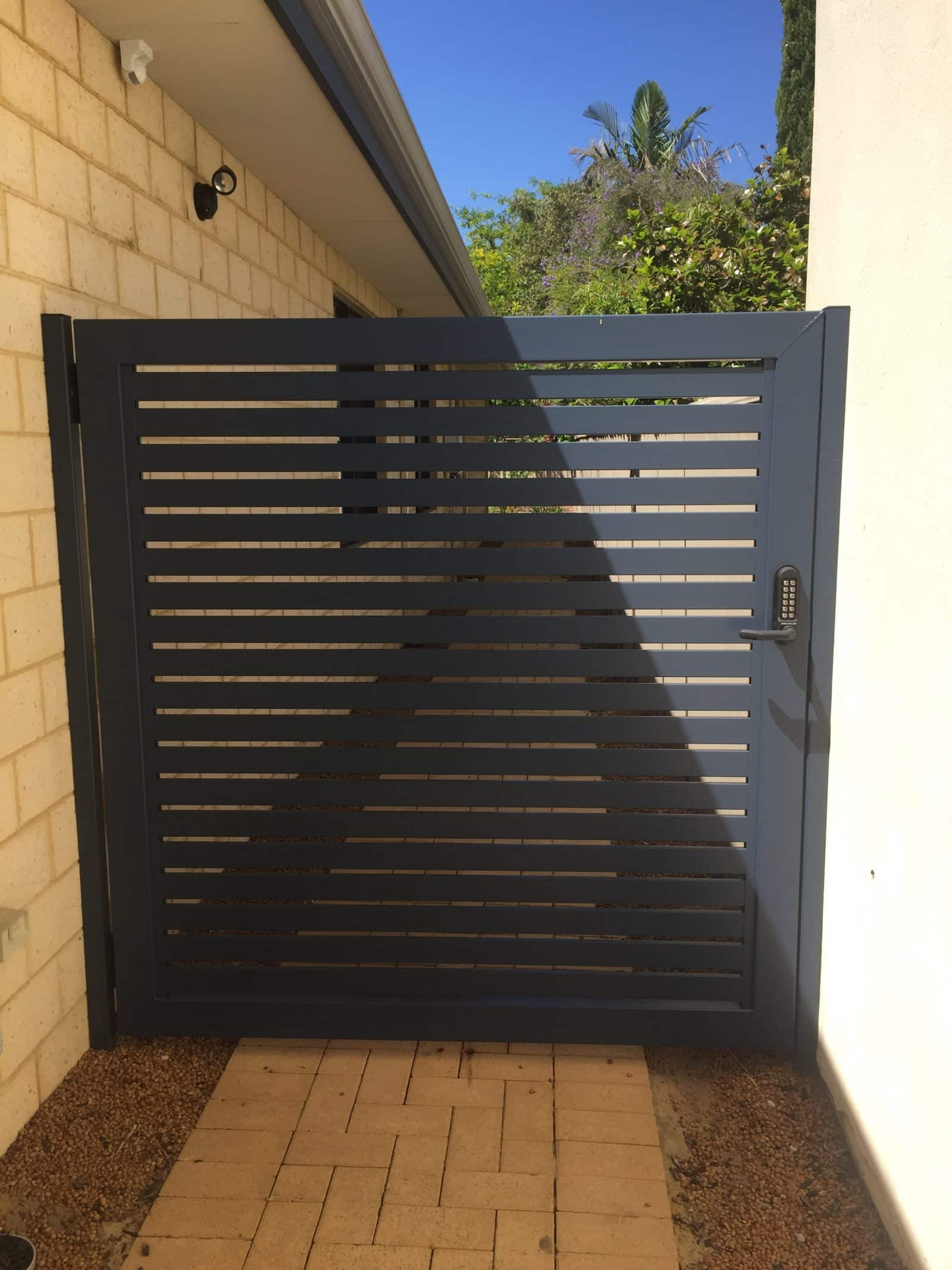 Aluminium Slat Gate With Borg Lock, Floreat