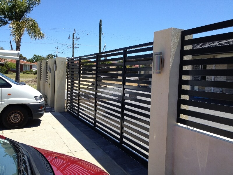 Black Powdercoated Aluminium Sliding Gate Dianella