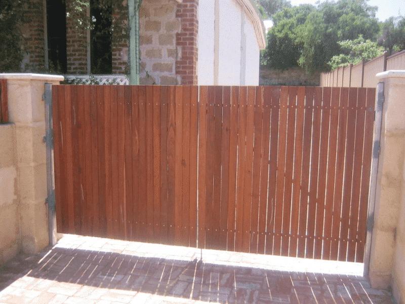 Dressed Jarrah Timber Gates On Steel Framework In Fremantle