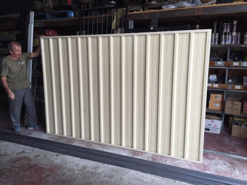Large Industrial Sized Uncapped Colorbond Gate Front View.