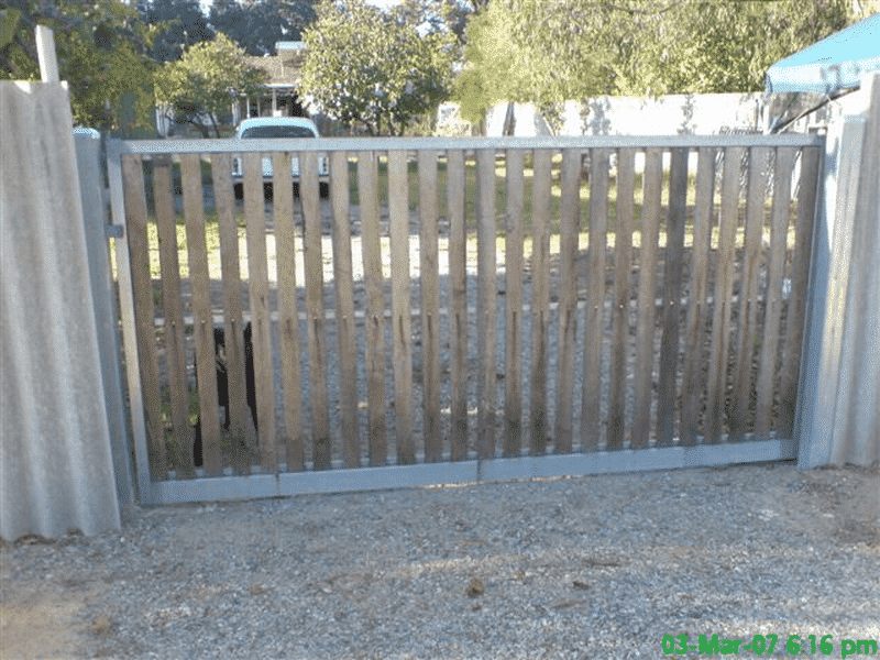 Rough Sawn Jarrah Sliding Timber Gate With Steel Framework In Kelmscott