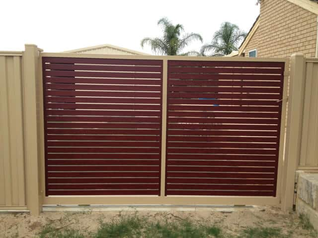 Western Red Cedar Timber Pattern Aluminium Sliding Gate, Maddington