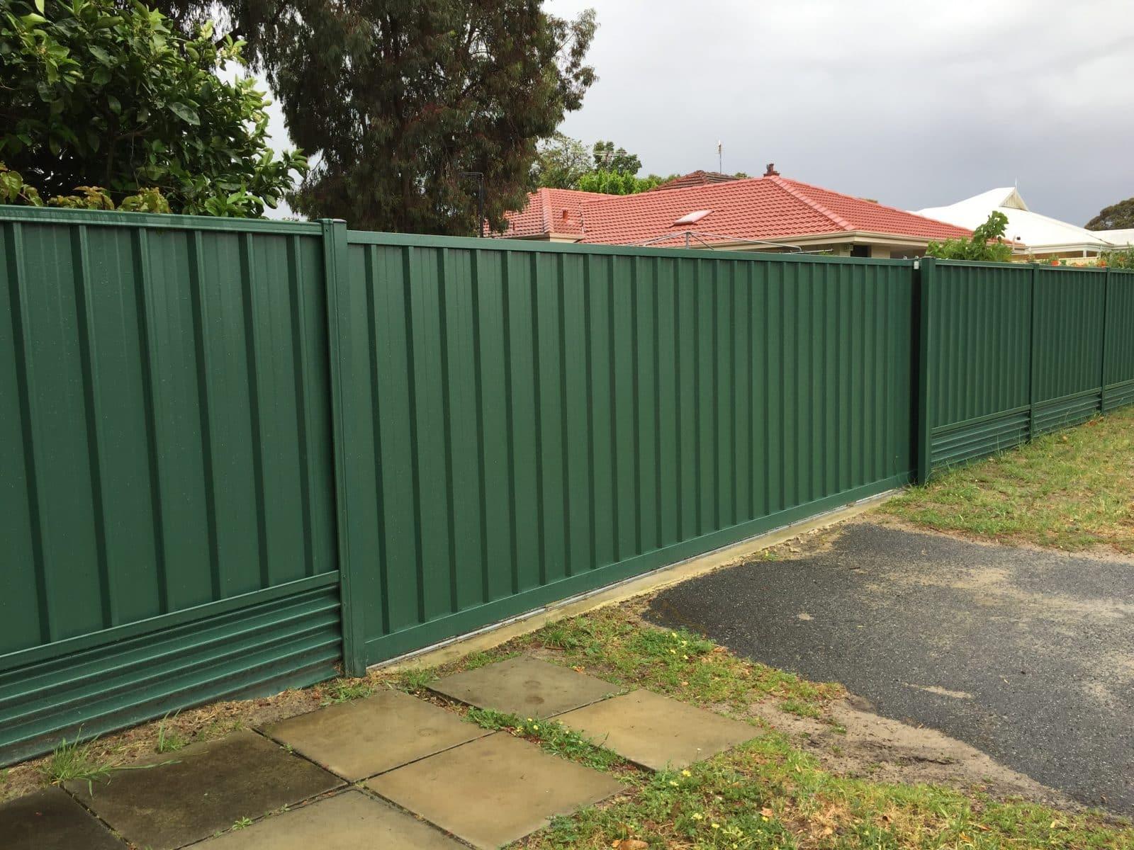 Evergreen Colorbond sliding gate East Vic Park
